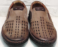 Коричневые слипоны туфли с перфорацией мужские smart casual для мужчин Luciano Bellini 91737-S-307 Coffee.