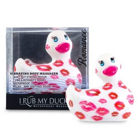 Белый вибратор-уточка I Rub My Duckie 2.0 Romance с розовым принтом
