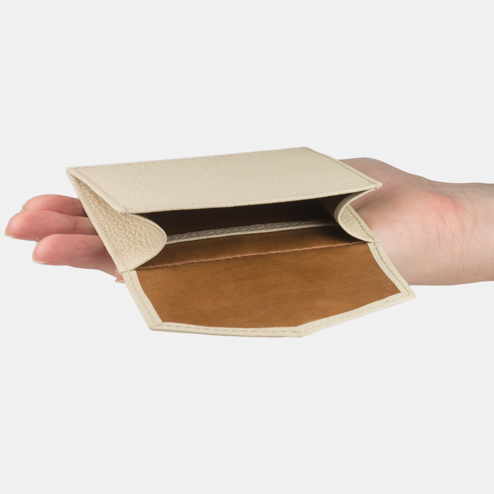 Картхолдер-кошелек Perle Bicolor из натуральной кожи теленка, молочного цвета