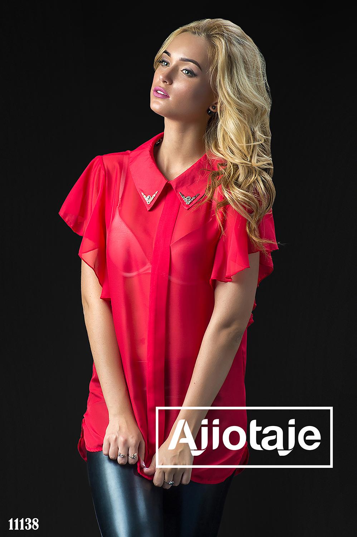 Шифоновая красная блузка с воланами