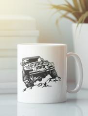 Кружка с рисунком Jeep (Джип) белая 003