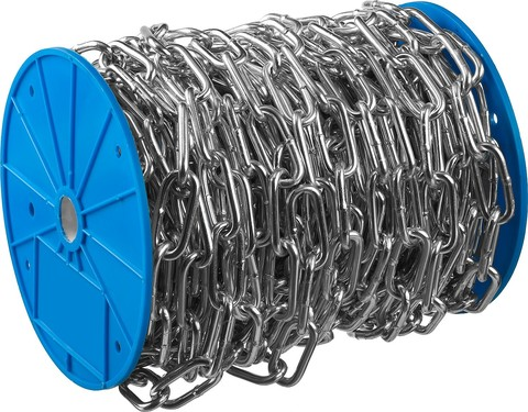 Цепь длиннозвенная, DIN 763, оцинкованная сталь, d=5мм, L=45м, ЗУБР Профессионал