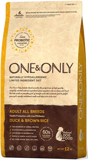 Сухой корм Корм для взрослых собак всех пород, ONE&ONLY Duck & Rice Adult All Breeds, с уткой и рисом Утка_и_рис.png