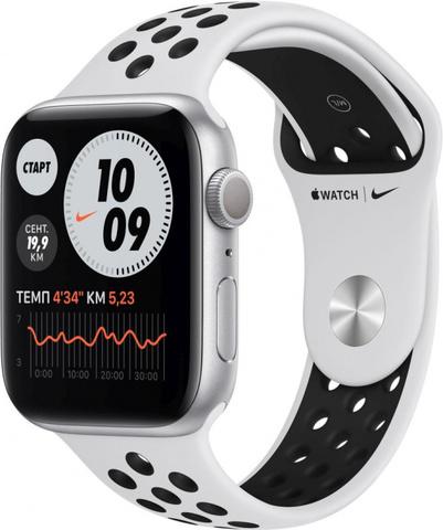 Умные часы Apple Watch Nike Series 6, 44 мм, корпус из алюминия серебристого цвета, спортивный ремешок Nike