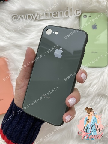 Чехол iPhone 7/8 Glass Pastel color Logo /forest green/