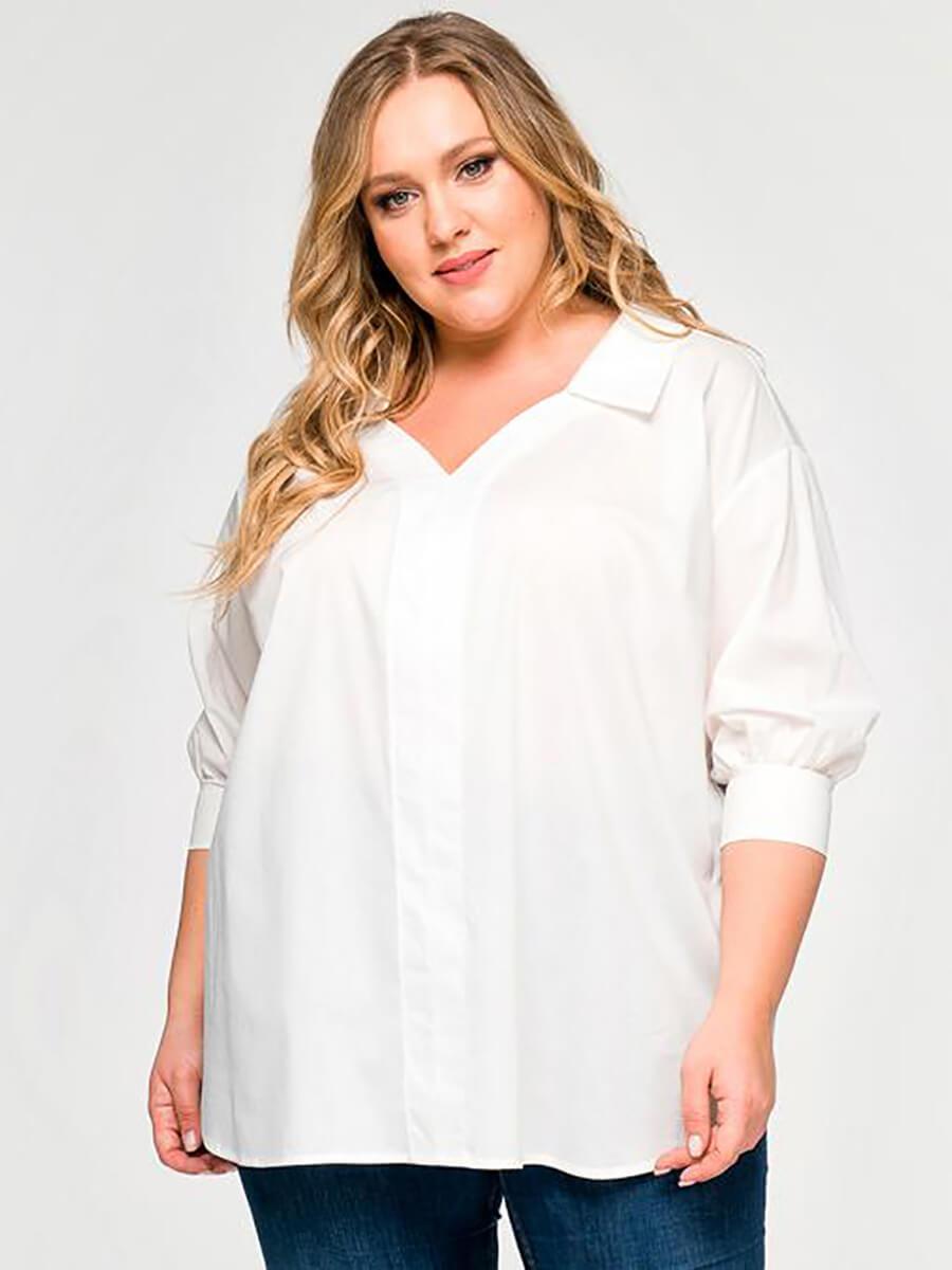 Белая блузка большой размер женская
