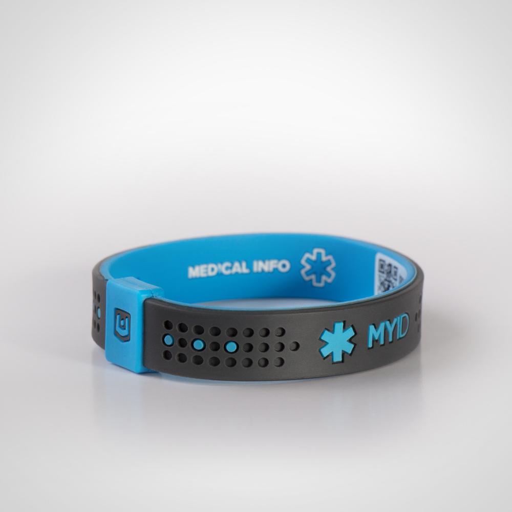 Информационный энергетический браслет MyID Sport угольно/голубой