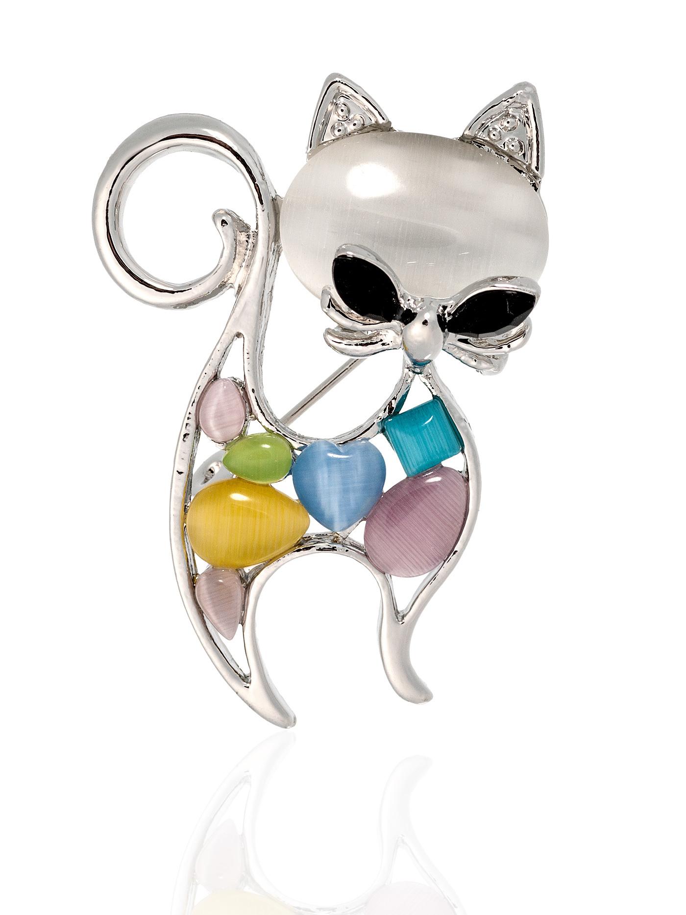 Брошь Разноцветная кошка