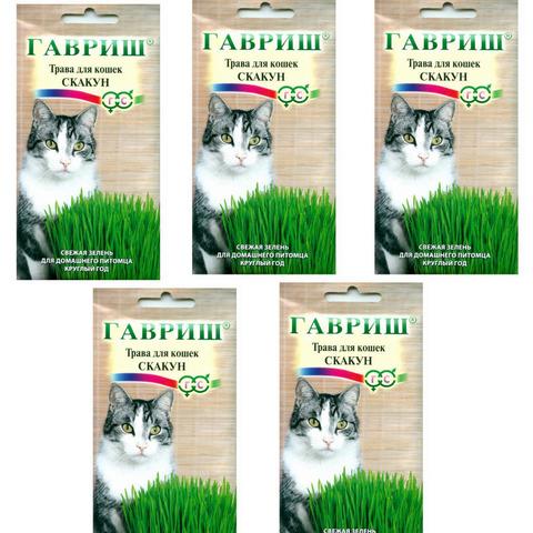 Семена травы для кошек Скакун, 5 пакетиков по 10гр, Гавриш
