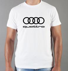 Футболка с принтом Ауди Кватро (Audi quattro) белая 0034