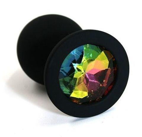 Чёрная силиконовая анальная пробка с радужным кристаллом - 7 см.