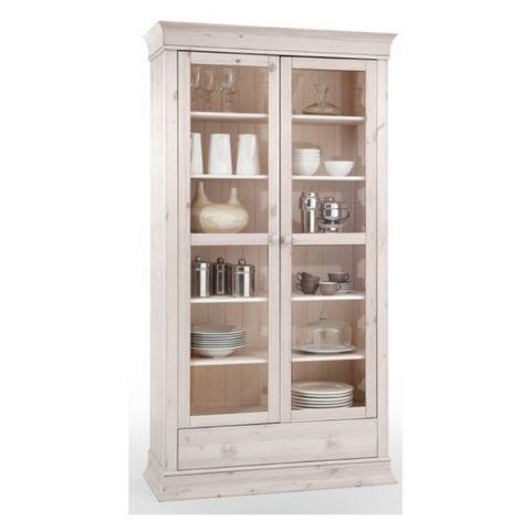 Шкаф с витриной для посуды Бостон 21G (белый воск)