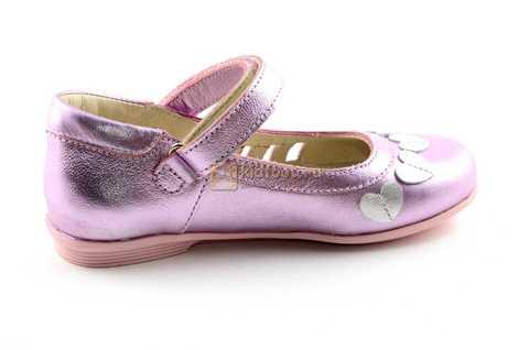 Туфли для девочек кожаные на липучке Тотто, цвет розовый металлик, 10210A. Изображение 4 из 12.