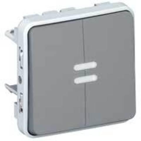 Выключатель двухклавишный проходной с подсветкой Двухклавишный переключатель на два направления с подсветкой - 10 AX - 250 В~. Цвет Cерый. Legrand Plexo (Легранд Плексо). 069526