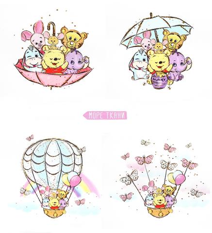 Панель(купон) Винни с друзьями на шаре и зонтик-35*35 см-4 шт.