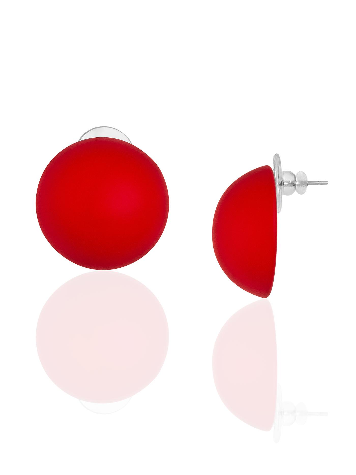 Серьги Красные круги полусферы