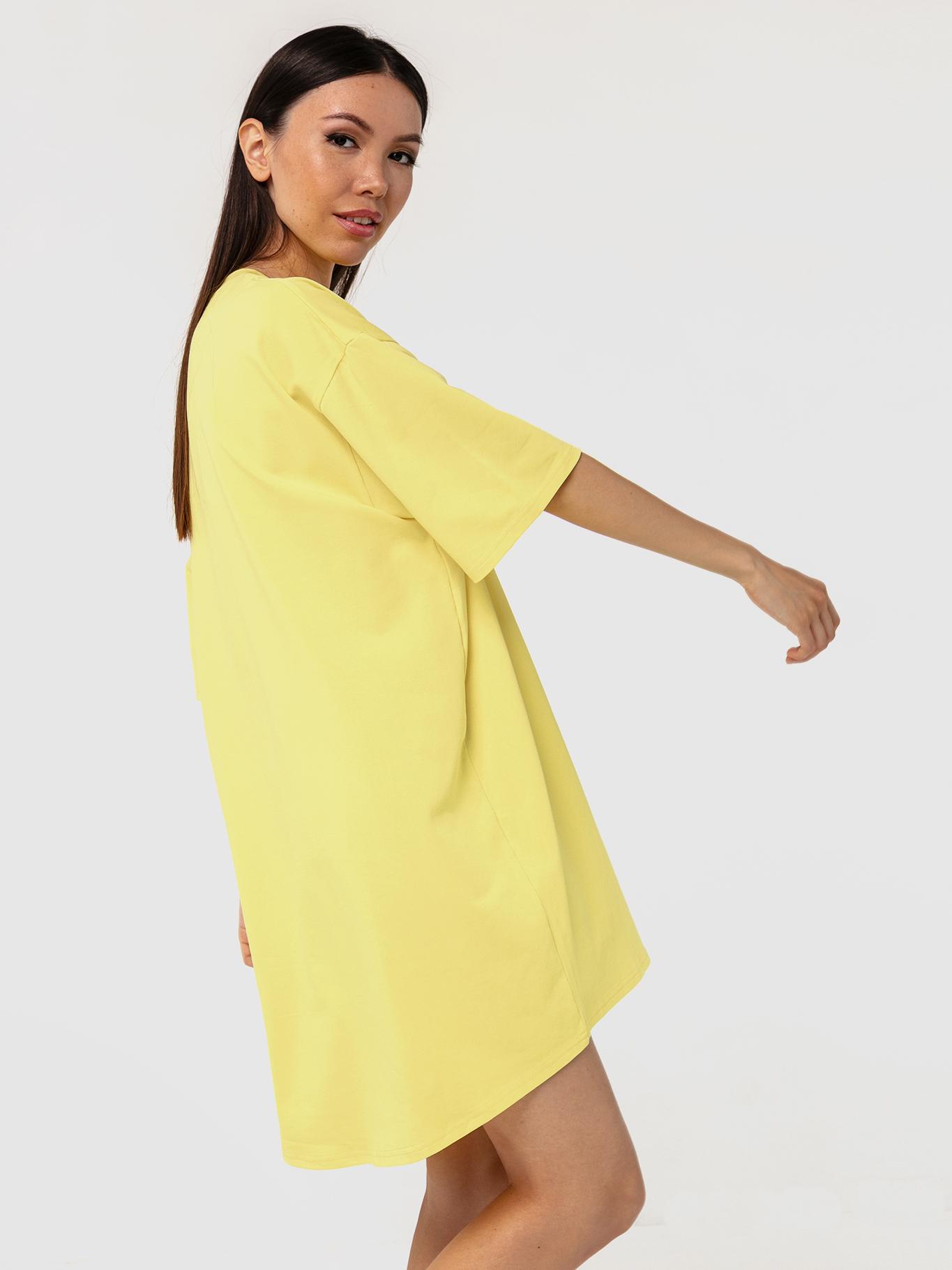 Платье-футболка хлопковое желтое YOS от украинского бренда Your Own Style