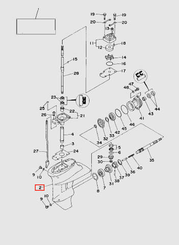 Корпус редуктора  для лодочного мотора T15, OTH 9,9 SEA-PRO (16-2)