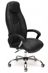 Кресло компьютерное Босс (Boss) хром — кож/зам (черный/черный перфорированный (36-6/36-6/06)