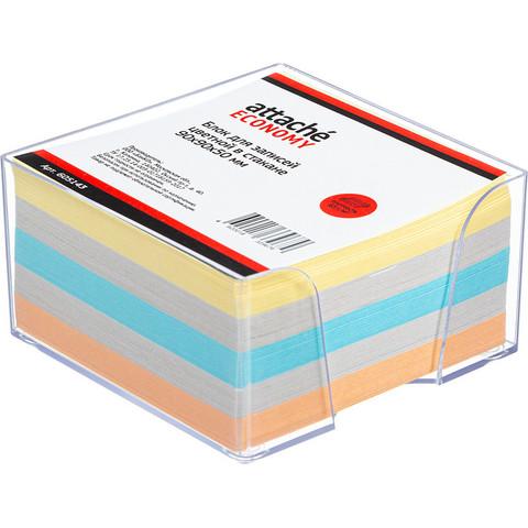 Блок для записей Attache Economy 90x90x50 мм разноцветный в боксе (плотность 65-80 г/кв.м)