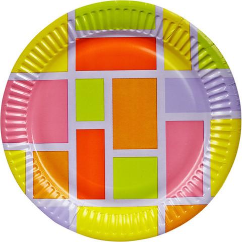 Тарелка одноразовая Buffet-Party Смальта бумажная разноцветная 180 мм 6 штук в упаковке
