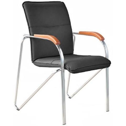 Конференц-кресло Samba silver черный (искусственная кожа/вишня/металл серебристый)