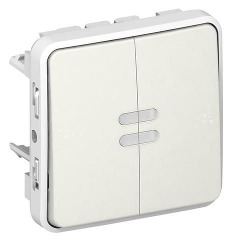 Выключатель двухклавишный проходной с подсветкой Двухклавишный переключатель на два направления с подсветкой - 10 AX - 250 В~. Цвет Белый. Legrand Plexo (Легранд Плексо). 069626