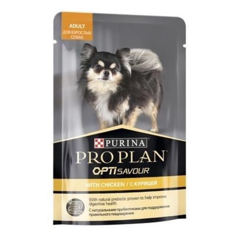 Pro Plan Влажный корм для взрослых собак мелких и карликовых пород, склонных к набору веса, с курицей в соусе, 100 г