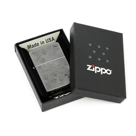 Зажигалка Zippo Skulls, латунь с покрытием Gray Dusk, серая, матовая, 36х12x56 мм