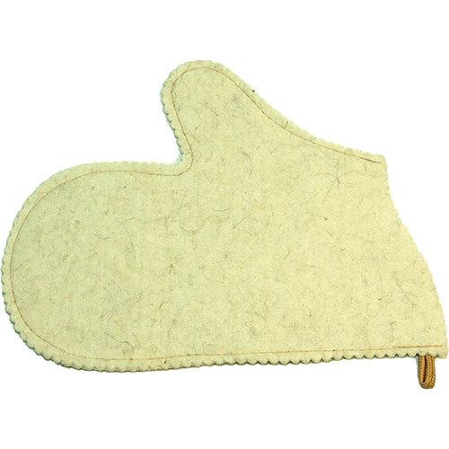 Рукавица для бани войлочная (белая)