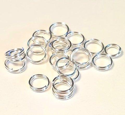 Кольцо двойное 5 мм цвет серебро цена за 25 шт