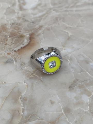 Кольцо Сайн желтое, серебро