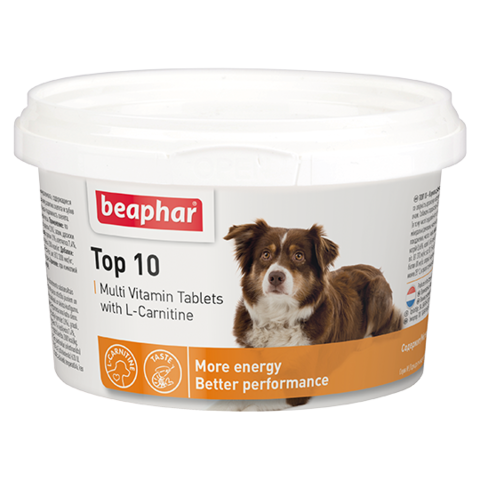 Beaphar Кормовая добавка Top 10 с L-карнитином для собак 180 табл