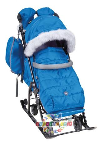 Санки-коляска «Ника детям» 7-5S голубые