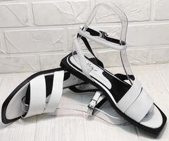 Женские кожаные сандалии босоножки с ремешком вокруг щиколотки Brocoli H1886-9165-S873 White.