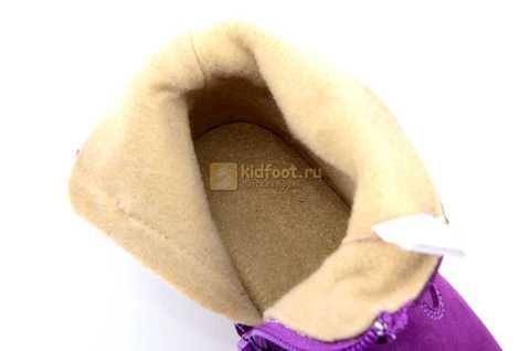 Полусапожки демисезонные Тотто из натуральной кожи на байке для девочек, цвет фиолетовый. Изображение 12 из 13.