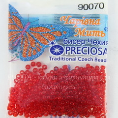 90070 Бисер 10/0 Preciosa прозрачный красный