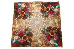 Итальянский платок из шелка коричневый с цветами 5355