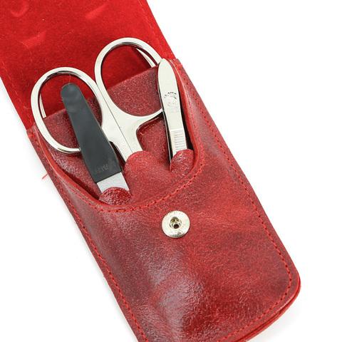 Маникюрный набор Dovo, 4 предмета, цвет красный, кожаный футляр