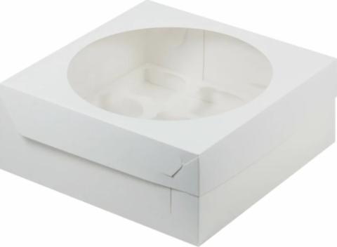 Коробка для 9 капкейков белая, 23,5*23,5*10см