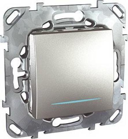 Выключатель одноклавишный с подсветкой промежуточный - Перекрестный переключатель с подсветкой. Цвет Алюминий. Schneider electric Unica Top. MGU5.205.30NZD