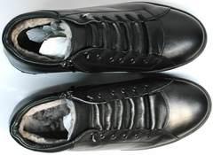 Кеды ботинки зимние мужские натуральная кожа натуральный мех Ridge 6051 X-16Black