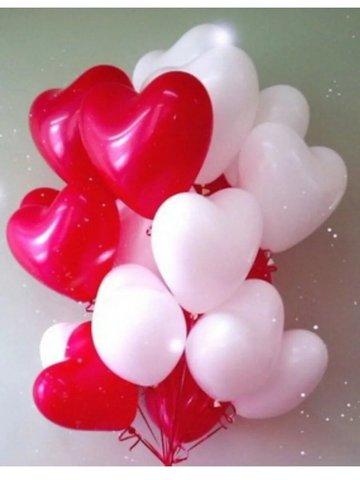 Набор шаров 50 шт. Сердце белое/красное/розовое по 30 см