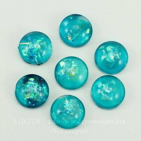 Кабошон стеклянный голубой с блестками 10х4 мм ()