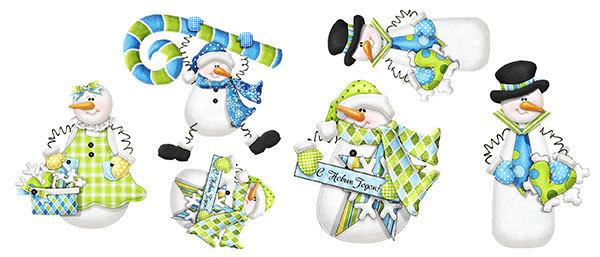 Водорастворимая бумага для мыла Снеговики