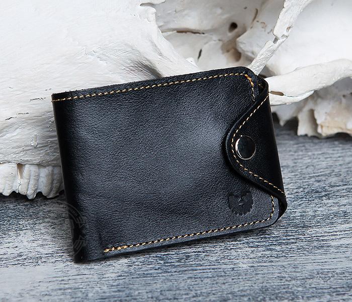 WB128-3 Черный мужской кошелек из натуральной кожи на застежке. «Boroda Design»