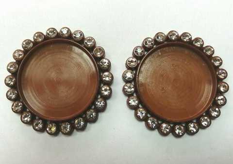 Основа для круглых кабошонов, размер 35х35. в 1 уп 2шт. Цвет коричневый.(2112)