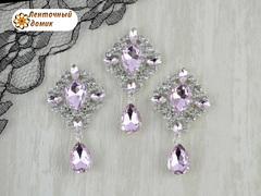Камень маркиза в серебряной стразовой оправе с подвеской светло-розовый (УЦЕНКА)