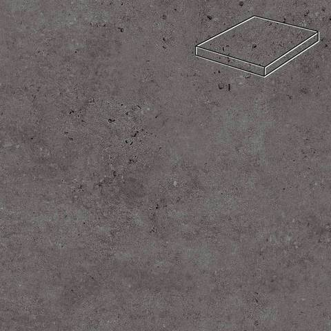 Stroeher - Gravel Blend 963 black 340х340х35х11 артикул 9441 - Угловая клинкерная ступень прямоугольная Loftstufe