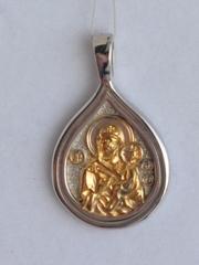 Тихвинская Божья Матерь (кулон с барельефом из серебра)